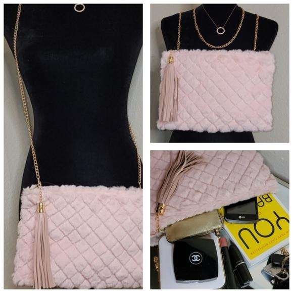 Pink Haley Quality Faux Pink Fur Clutch/Crossbody